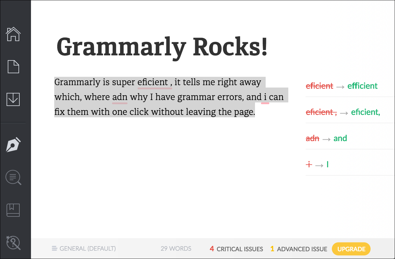 Grammarly desktop application: highlights mistakes, provides reasons and suggestions on how to fix them on the same screen