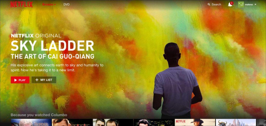Netflix website navigation